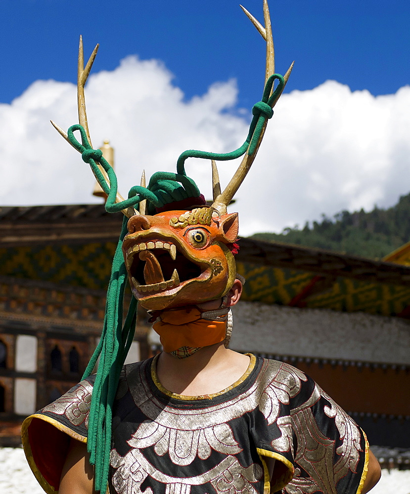 Bhutan, Bumthang District, Tamshing Lhakang, Masked dancer at Tsecchu.