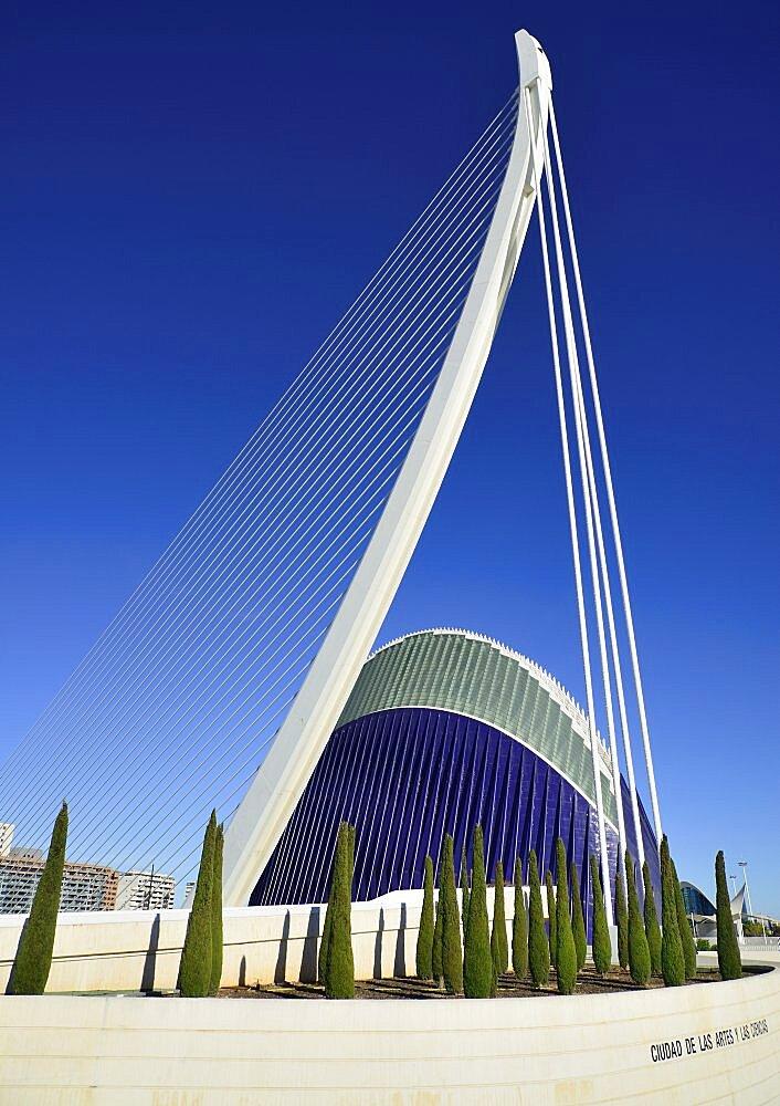 Spain, Valencia Province, Valencia, La Ciudad de las Artes y las Ciencias, City of Arts and Sciences, El Pont de l'Assut de l'Or Bridge and Agora.