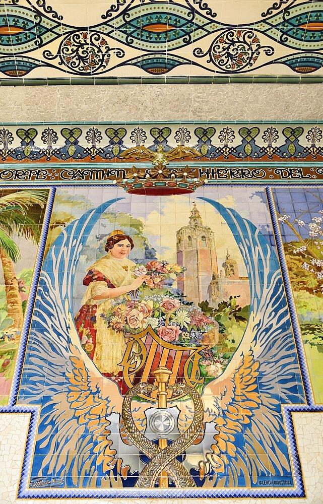 Spain, Valencia Province, Valencia, Estacion del Norte train station, Mosaic tile scene inside the station.