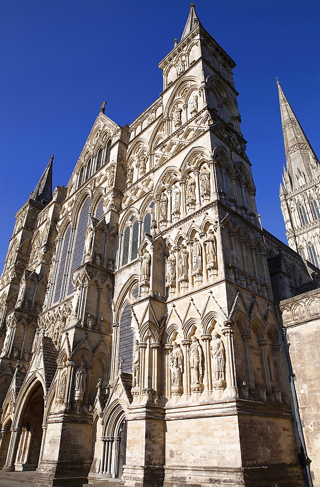 England, Wiltshire, Salisbury, Exterior of the Cathedral.