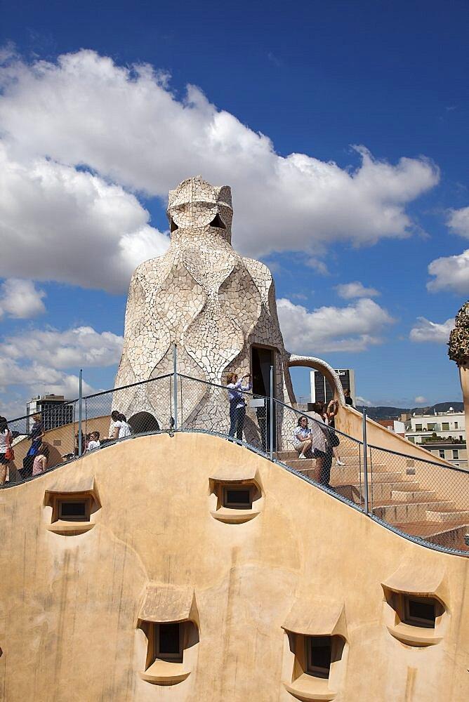 Spain, Catalonia, Barcelona, a Pedrera or Casa Mila on Passeig de Gracia, deisgned by Antoni Gaudi.