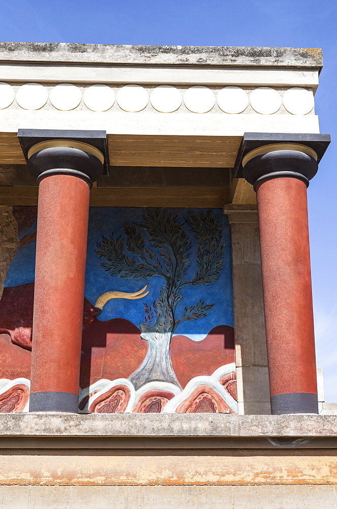 Greece, Crete, Knossos, The north entrance, depicting the charging bull fresco, Knossos Palace.