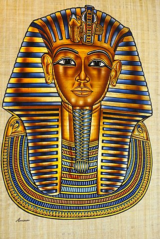 Egypt, Cairo, Painting of Tutankhamun's death mask on papyrus paper.
