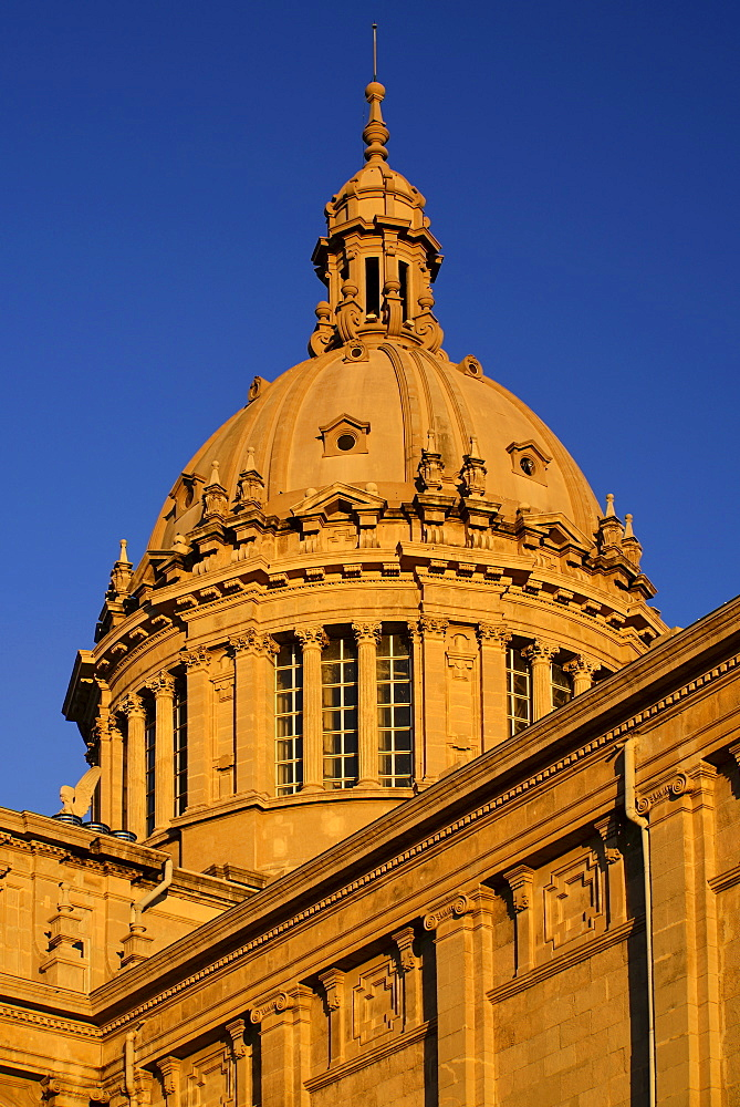 Spain, Catalunya, Barcelona, Montjuic, The dome of the Palau Nacional which was built for the 1929 International Exhibition in Barcelona and now houses the National Art Museum of Catalonia.
