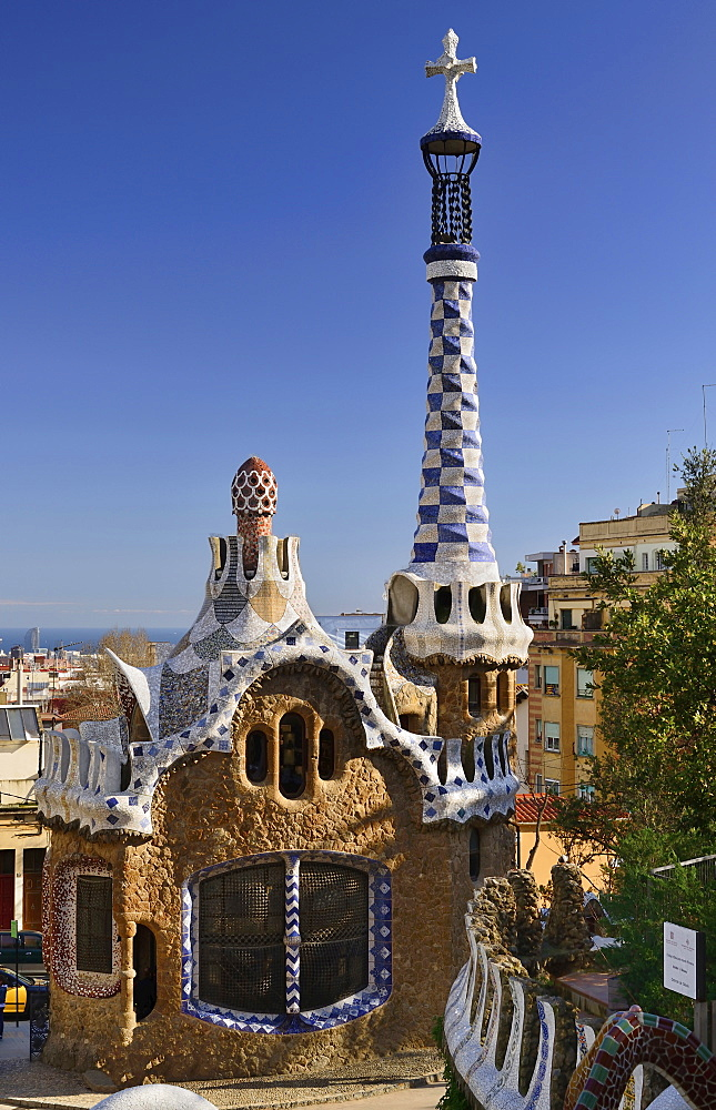 Spain, Catalunya, Barcelona, Parc Guell by Antoni Gaudi, full view of the Administration Lodge at the park's entrance.