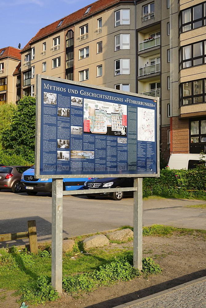 Germany, Berlin, Information plaque denoting location of the former Hitler Bunker, now a car park and apartment block.