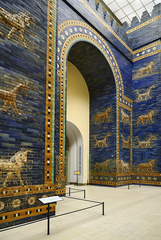 Germany, Berlin, Pergamon Museum, The Ishtar Gate from Babylon dating from 575 BC.
