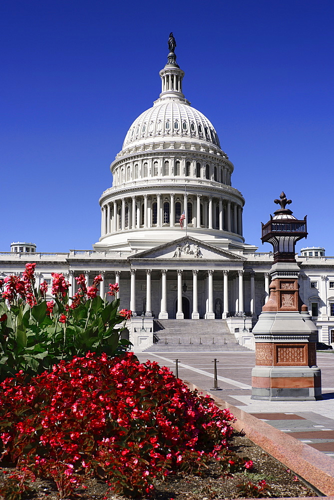 USA, Washington DC, Capitol Building, Head on view of the central section with its dome and flowerbed in the foreground.