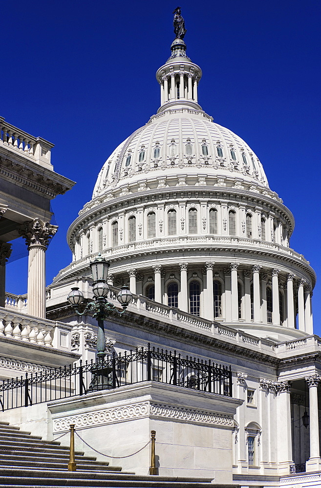 USA, Washington DC, Capitol Building, The building's dome with the Statue of Freedom on top.
