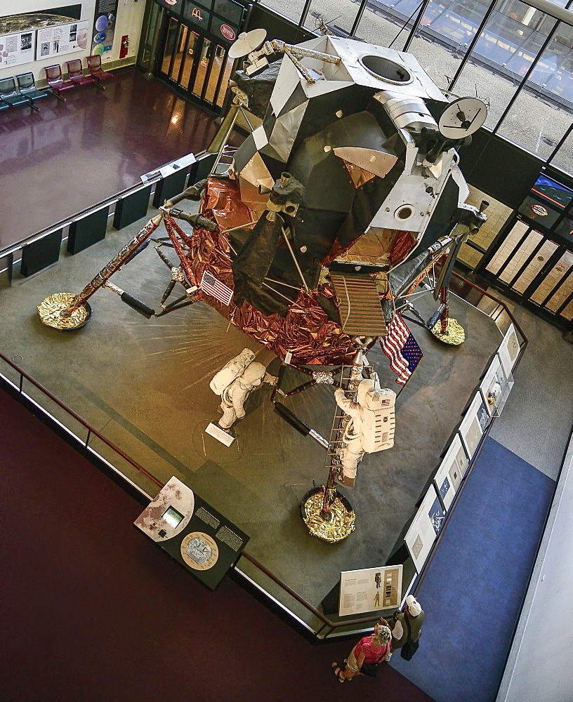 USA, Washington DC, National Mall, National Air and Space Museum, Lunar module with astronaut figures on ground.