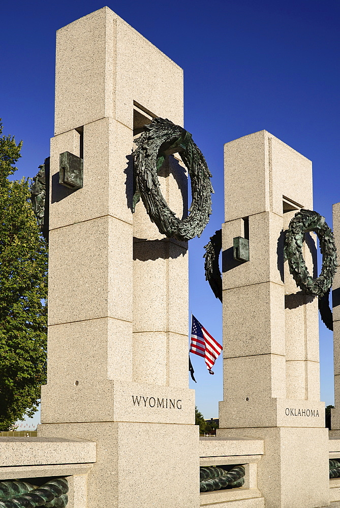 USA, Washington DC, National Mall, National World War 2 Memorial, Two of the memorial's granite pillars.