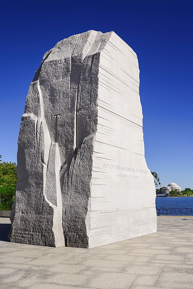 USA, Washington DC, National Mall, Martin Luther King Junior Memorial, Jefferson Memorial in background.
