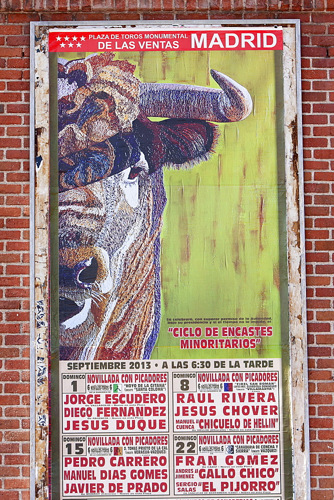 Spain, Madrid, Poster for forthcoming bull fights at de Las Ventas.