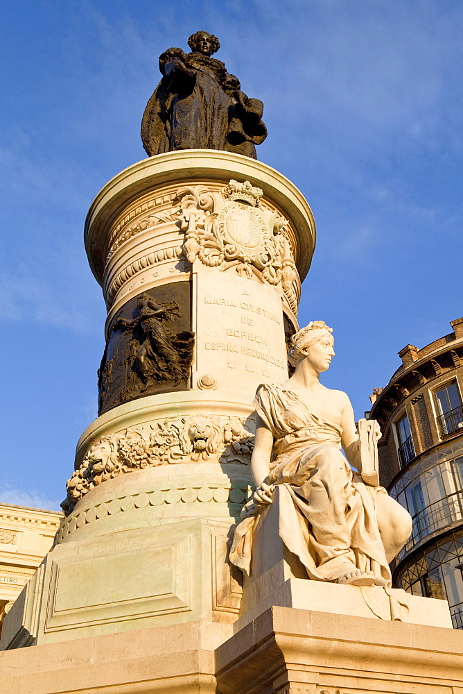 Spain, Madrid, Statue of Queen María Isabel de Braganza in front of the Museo del Prado Cason del Buen Retiro.