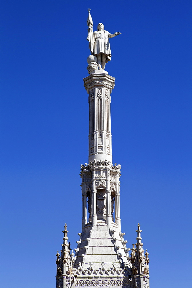 Spain, Madrid, Statue of Christopher Columbus at Plaza de Colon.