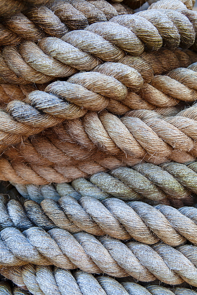 England, Bristol, Coiled rope on the SS Great Britain.
