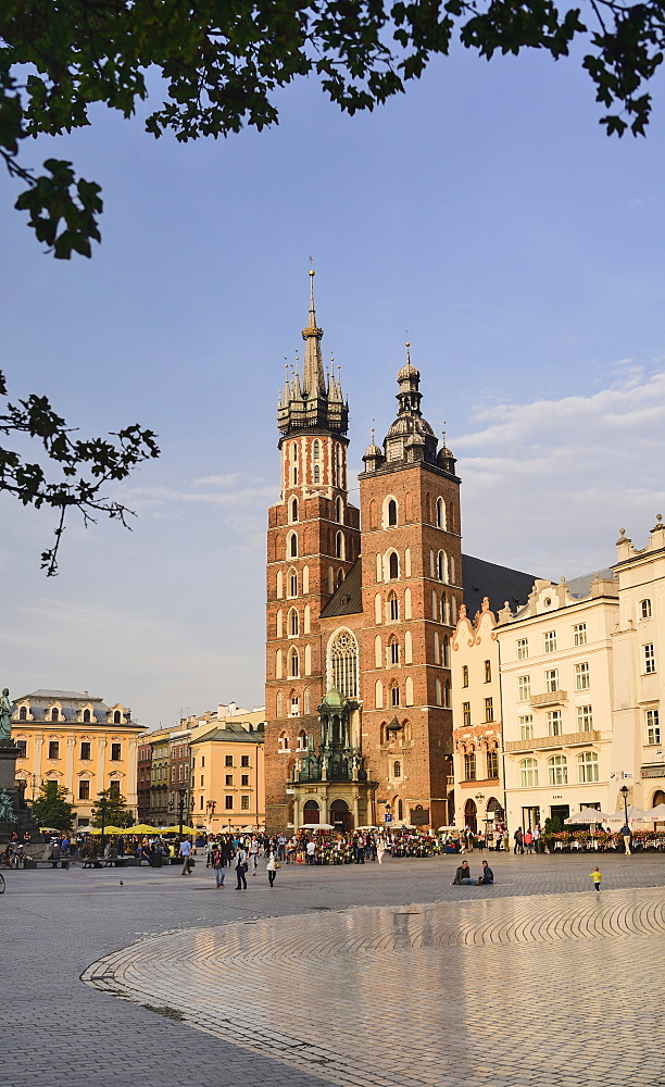 Poland, Krakow, Rynek Glowny or Main Market Square, St Mary's Church also known as St Marys Basilica.