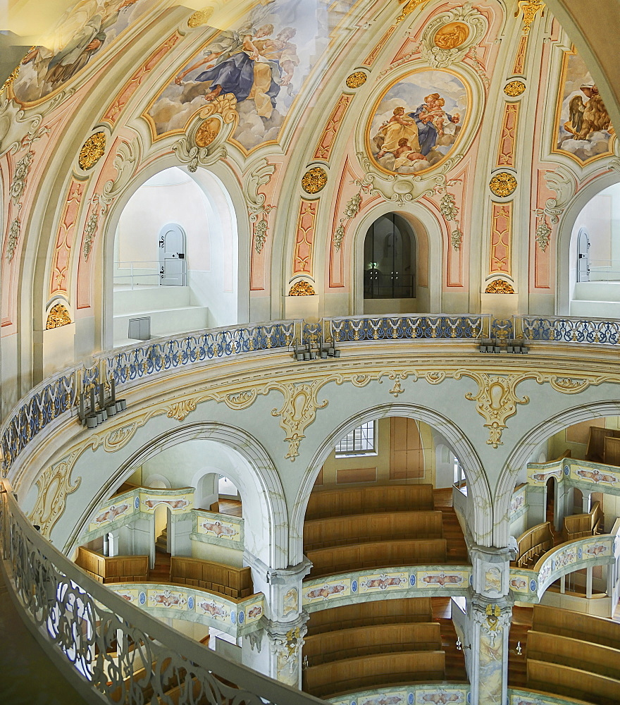 Germany, Saxony, Dresden, Frauenkirche or the Church of Our Lady in Neumarkt Square, a section of the interior from the dome stairway.
