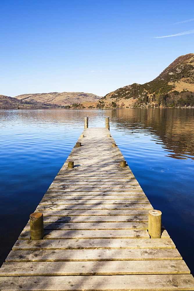 England, Cumbria, Lake District, Glenridding, Jetty on Lake Ullswater, and Place Fell on right.