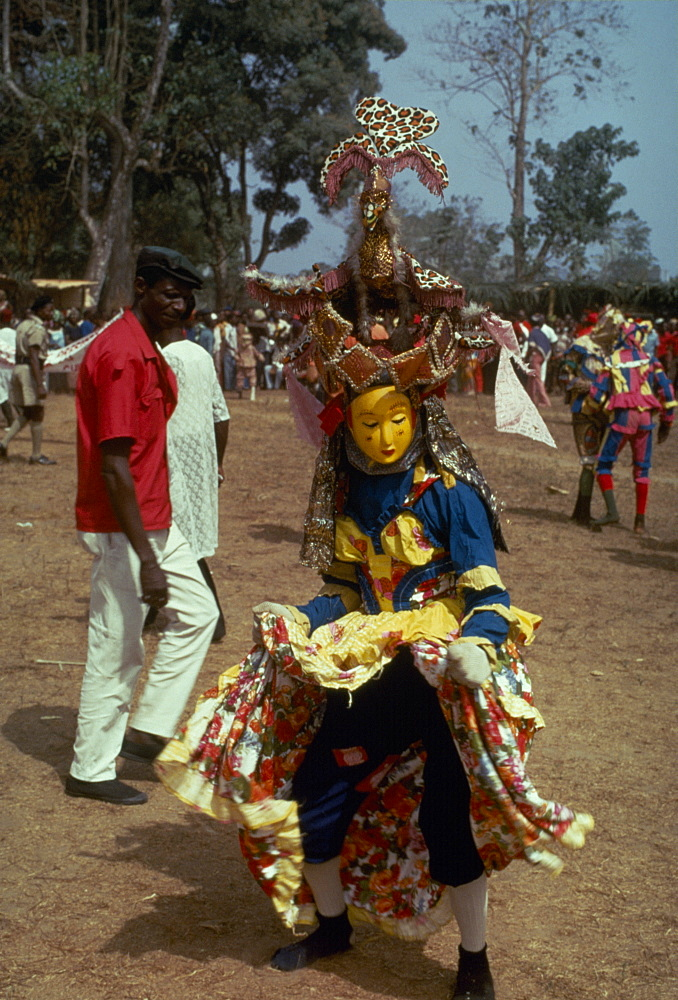 SIERRA LEONE  Festival Kaka Devil secret society masked dancer