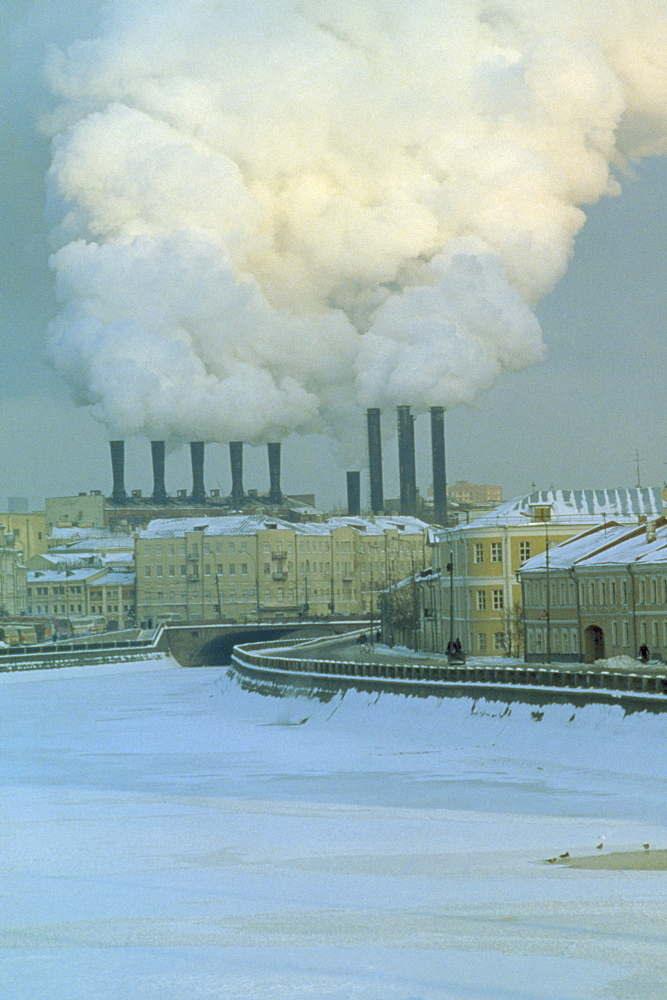 RUSSIA  Moscow Industrial chimneys emitting thick smoke over Moscow in snow. Air pollution   - 797-2778