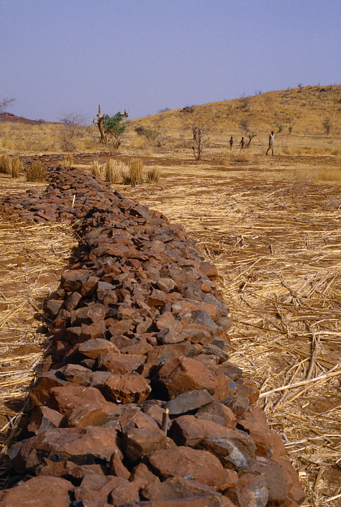 Burkina Faso Environment Flooding Bund  low rock walls built to prevent soil erosion by flash floods. Stones are placed along the contours on gentle slopes. Sometimes the bunds are reinforced by planting tough grasses along the lines. The stones and grass
