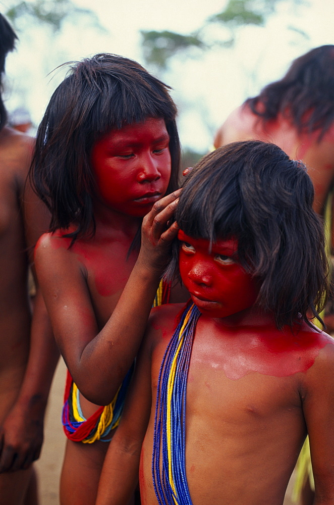BRAZIL Mato Grosso Indigenous Park of the Xingu Young Panara girls applying red karajuru face and body paint in preparation for dance.  Both wearing multiple strands of blue red and yellow beads across upper body. Formally known as Kreen-Akrore  Krenhakarore  Krenakore  Krenakarore  Amazon American Brasil Brazilian Indegent Kids Kreen Akore Latin America Latino South America Immature