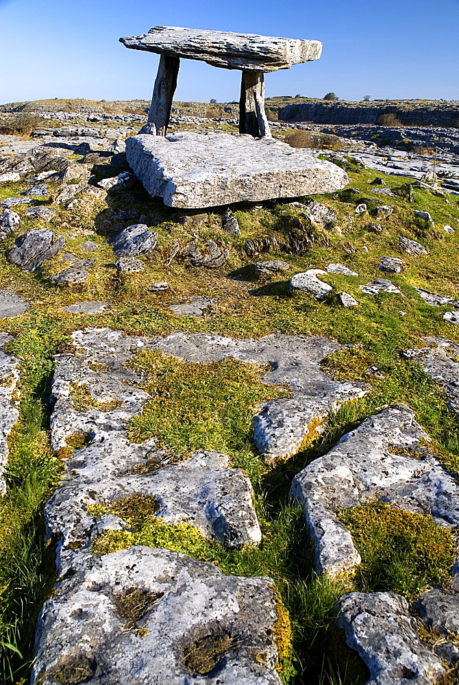 Ireland, County Clare, The Burren, Poulnabrone Dolmen - These stones created a chamber within which the dead were placed