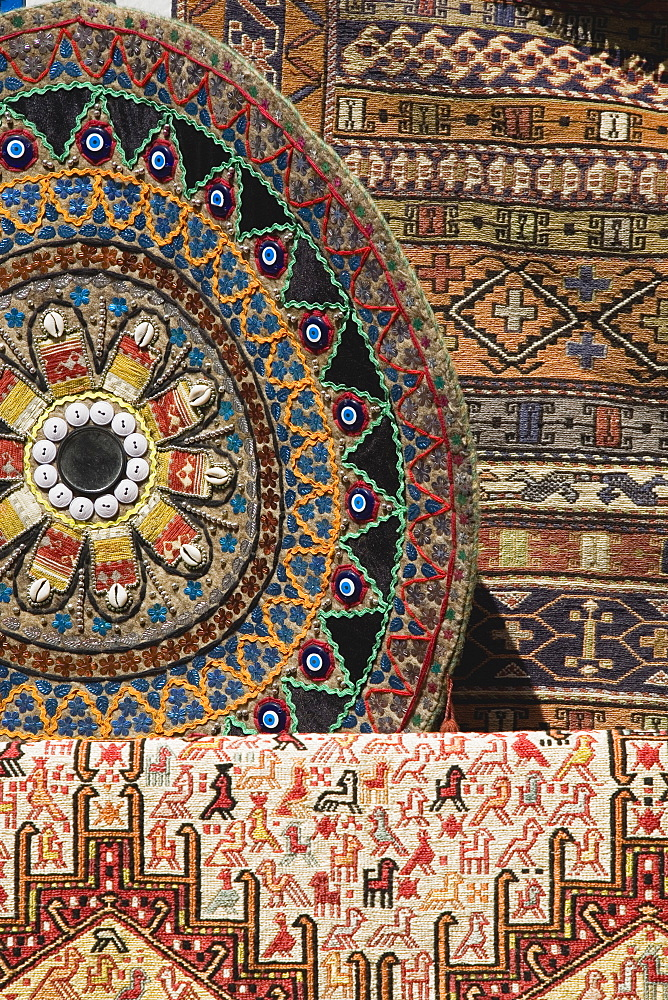 Turkey, Izmir Province, Selcuk, Ephesus, Kilims, flat, tapestry woven carpets or rugs on sale to tourists at Ephesus