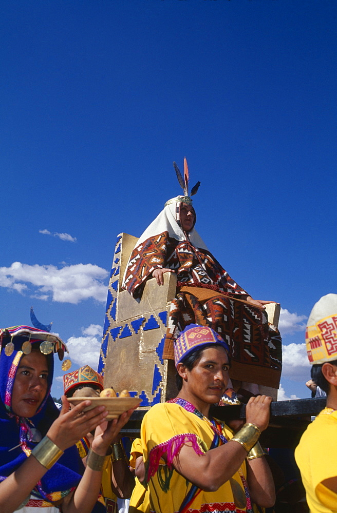 PERU Cusco Department Cusco The wife of the Emperor Pachacuti being carried in her throne at Inti Raymi.  Cuzco
