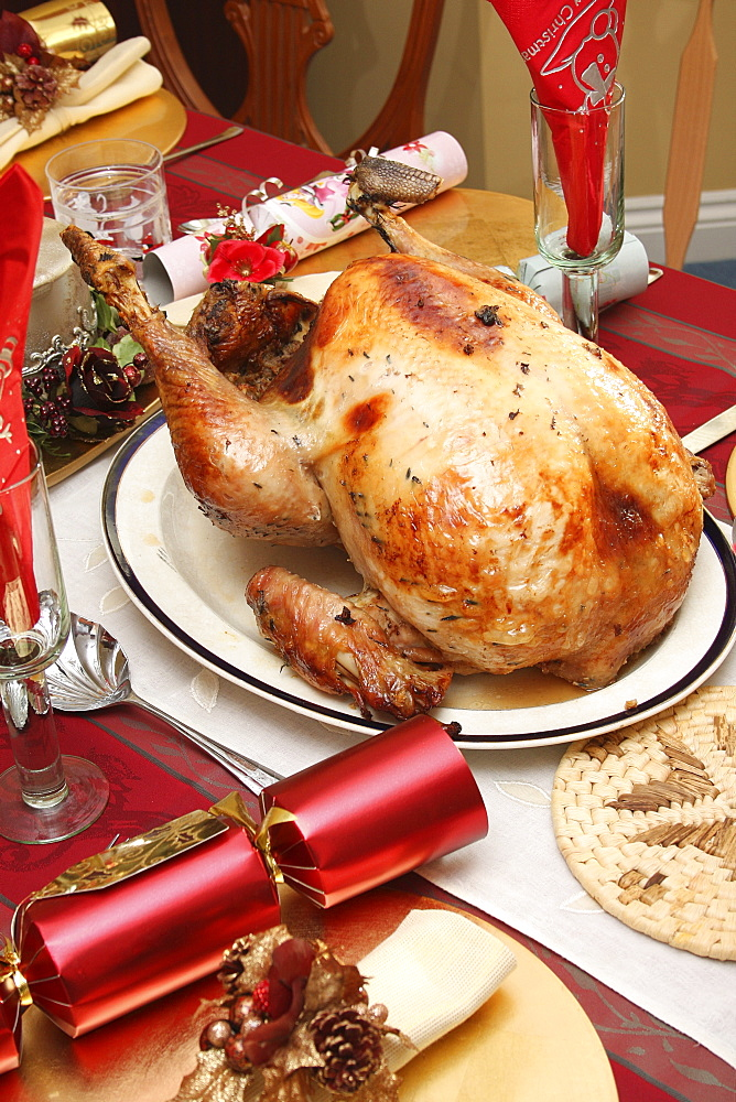Food, Cooked, Poultry, A whole turkey ready for carving on a table laid for Christmas lunch.