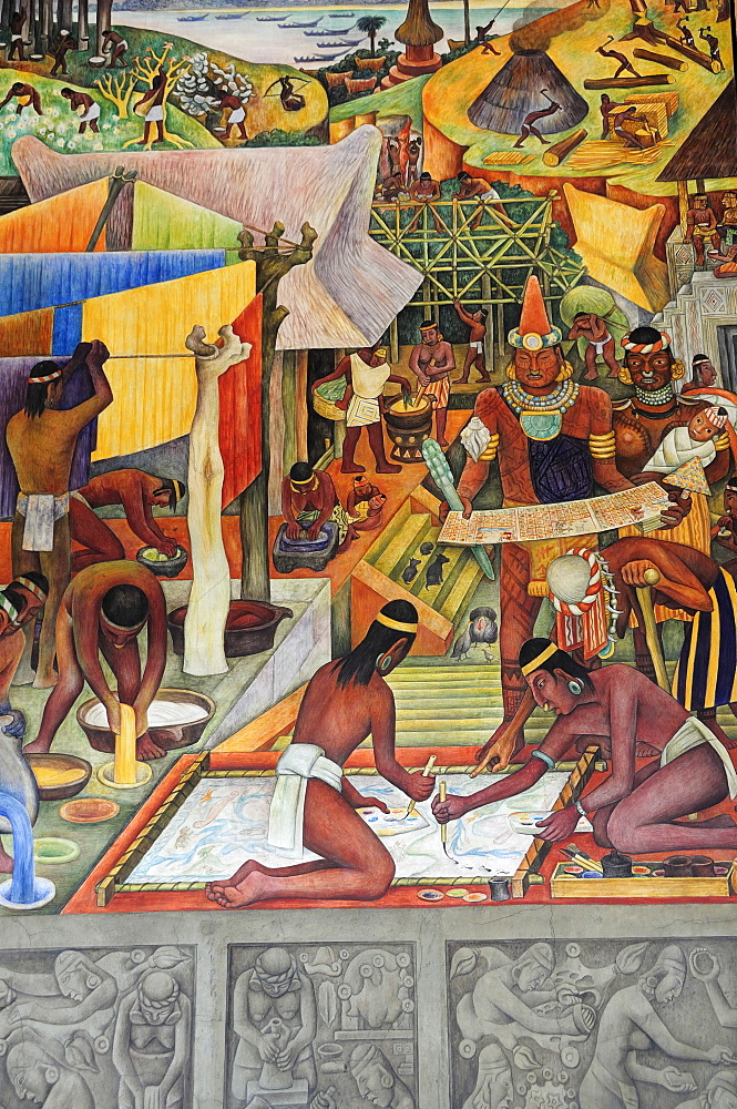 Detail of Mexico a Traves de los Siglos mural by Diego Rivera in the Palacio Nacional depicting life before the Conquest including paper making, Mexico City, Federal District, Mexico