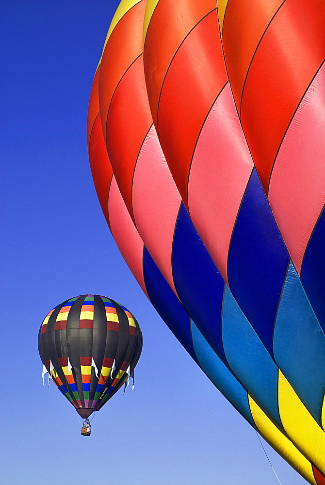 Annual balloon fiesta colourful hot air balloons in flight, Albuquerque, New Mexico, United States of America - 797-9155