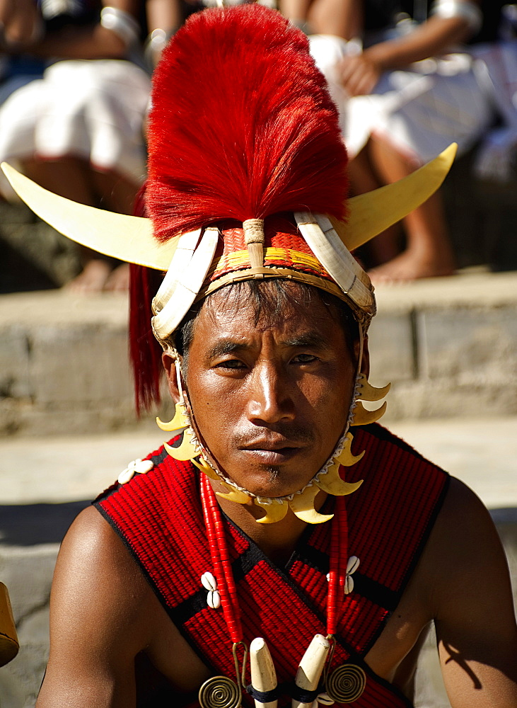Naga Warrior tribal in traditional costume and head dress, People, Nagaland, India