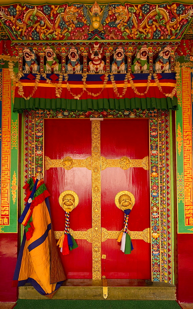 Hand crafted and painted door in Buddhist Monastery, Sikkim, India