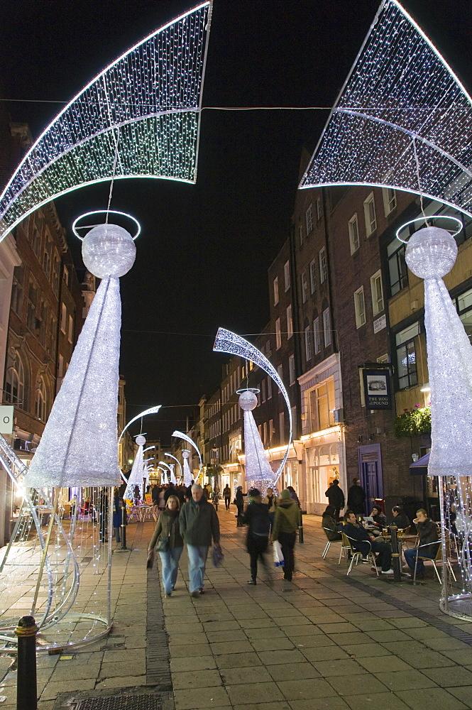 Christmas lights in South Moulton Street, near Oxford Street, London, England, United Kingdom, Europe
