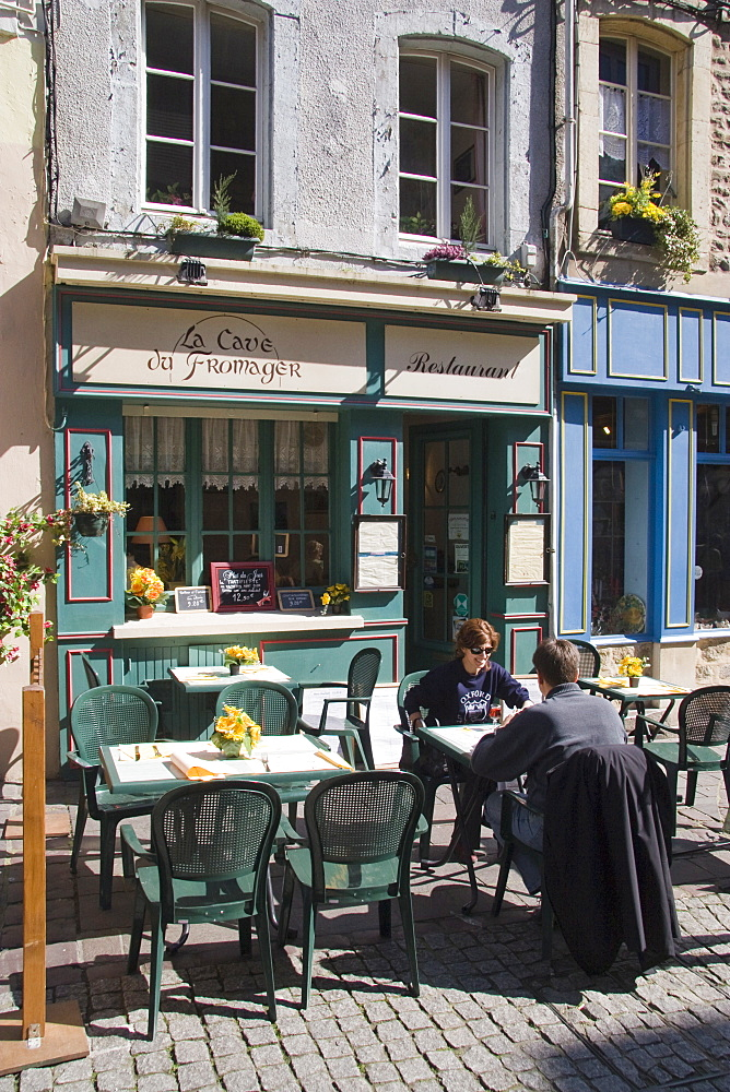 Terrace tables outside the many cafes and restaurants on Rue de Lille in the old quarter of Boulogne, Pas-de-Calais, France, Europe