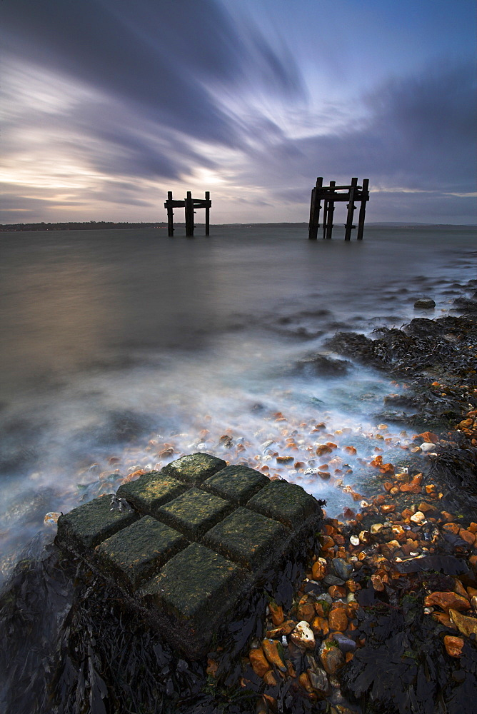 Dawn at Lepe Beach, New Forest National Park, Hampshire, England, United Kingdom, Europe