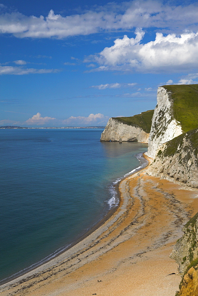 Looking down towards Bats Head, with Weymouth in the distance, Durdle Door, Jurassic Coast, UNESCO World Heritage Site, Dorset, England, United Kingdom, Europe