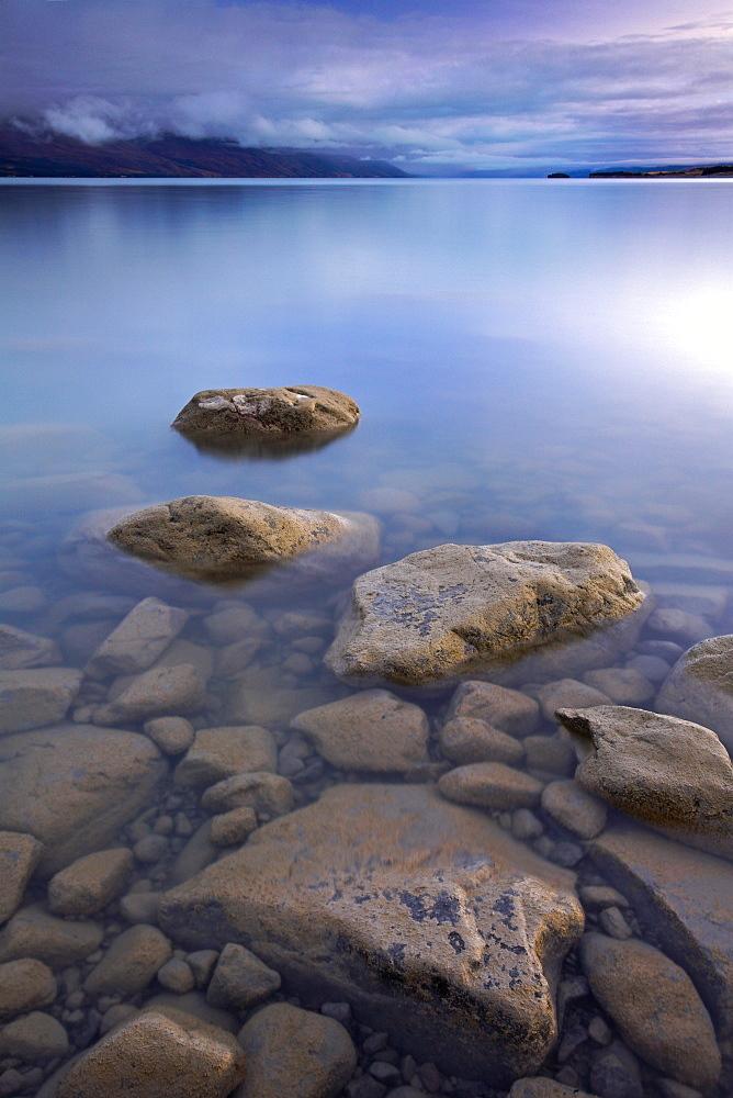 Lake Pukaki on a blue morning, Canterbury, South Island, New Zealand, Pacific