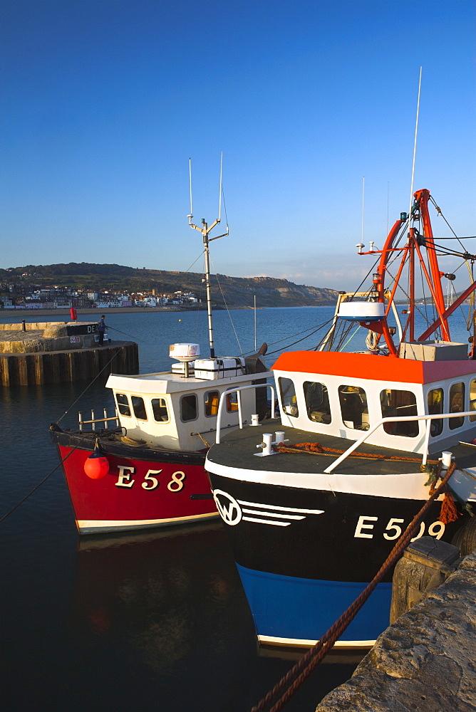 Fishing vessels moored safely to the Cobb in Lyme Regis Harbour, Lyme Regis, Dorset, England, United Kingdom, Europe