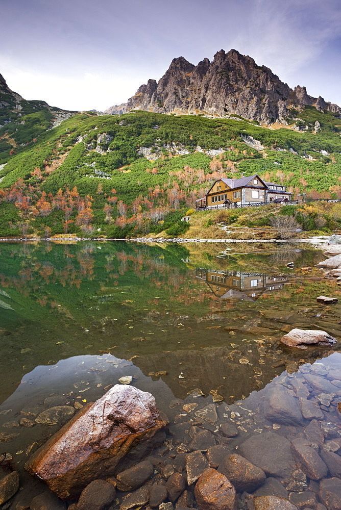 Zelene Pleso Lake and Mountain Cottage in the High Tatra Mountains, Slovakia, Europe