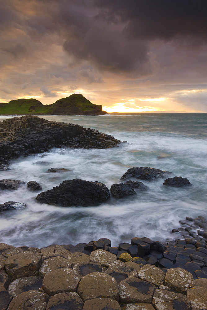 Sunset at Giants Causeway, UNESCO World Heritage Site, on the County Antrim coast, Northern Ireland, United Kingdom, Europe