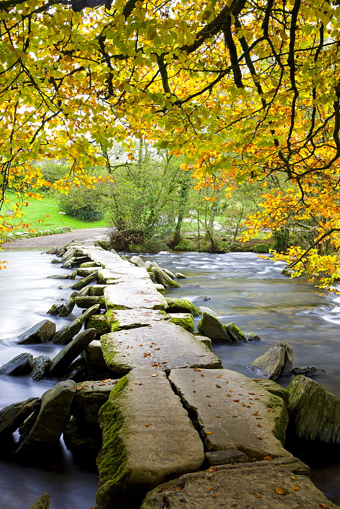 Tarr Steps clapper bridge in autumn, Exmoor National Park, Somerset, England, United Kingdom, Europe