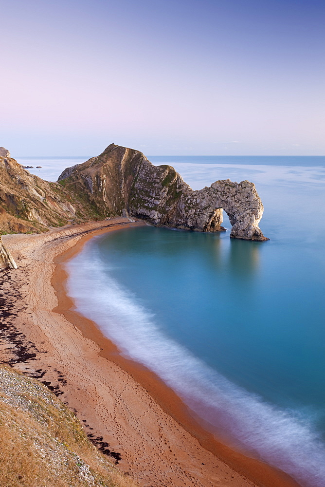 Deserted beach at twilight, Durdle Door, Jurassic Coast, UNESCO World Heritage Site, Dorset, England, United Kingdom, Europe