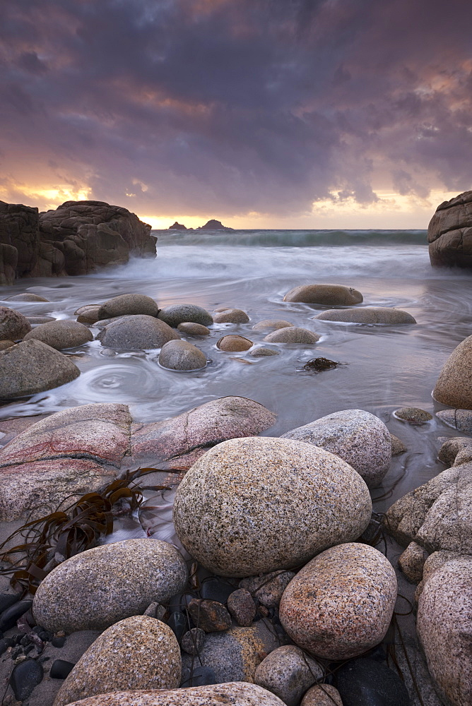 Porth Nanven beach and the Brisons at sunset, St. Just, Cornwall, England, United Kingdom, Europe