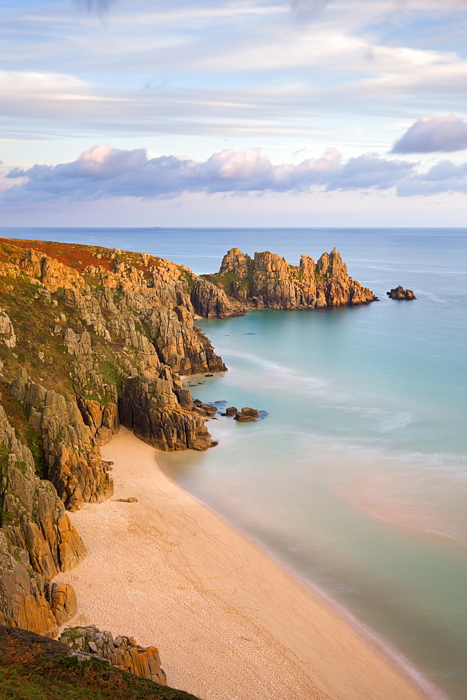 Pednvounder Beach and Logan Rock from Treen Cliff, Treen, Porthcurno, Cornwall, England, United Kingdom, Europe