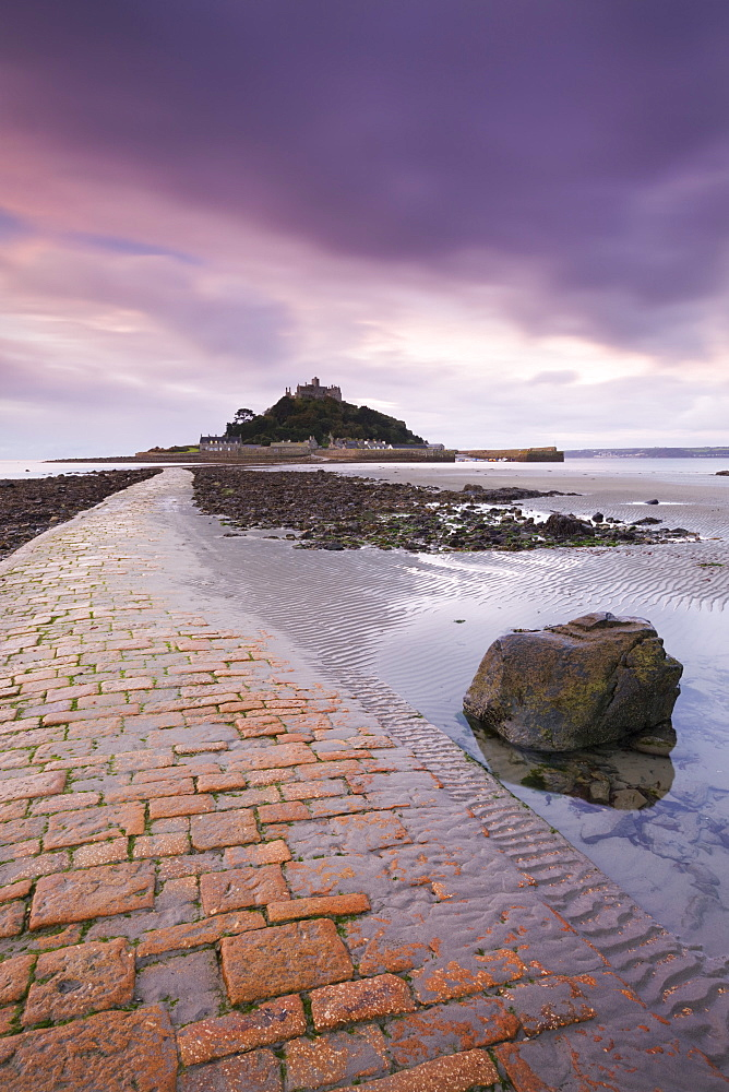 St. Michaels Mount and the Causeway at dawn, Marazion, Cornwall, England, United Kingdom, Europe