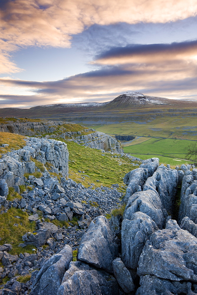 Snow capped Ingleborough from the limestone pavements on Twistleton Scar, Yorkshire Dales National Park, North Yorkshire, England, United Kingdom, Europe