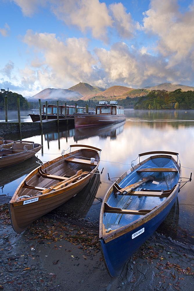 Boats on Derwent Water near Friars Crag, Keswick, Lake District National Park, Cumbria, England, United Kingdom, Europe